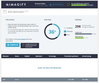 Imagify bulk optimize page