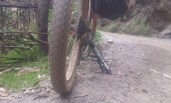 Using my bicycle pump as a bike stand. Why didn't I think of that before. (Hand brake required).