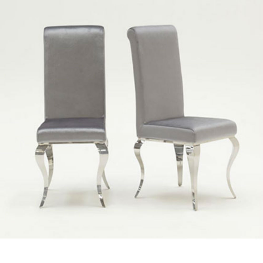 Silver Dining Chairs Louis Pair Of Luxury Velvet Chrome Dining Chairs Silver