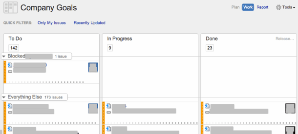GreenHopper kanban board with swimlane to highlight epics/goals that are blocked