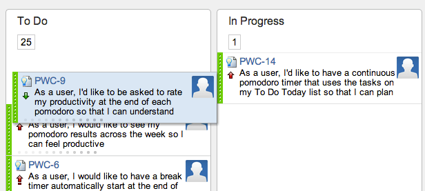 Drag user story to reorder the backlog on a GreenHopper Kanban board