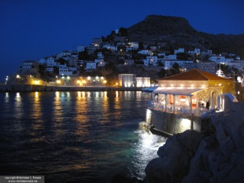 Night view of the Island of Hydra, Greece