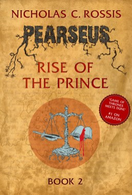 Pearseus: Rise of the Prince book cover, epic fantasy by Nicholas C. Rossis