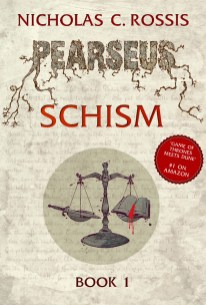 Pearseus: Schism book cover, epic fantasy by Nicholas C. Rossis