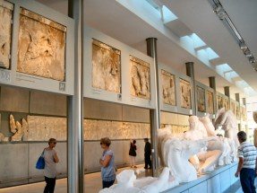 The marquees that decorated the Parthenon. Several are copies, the originals being at the British Museum.