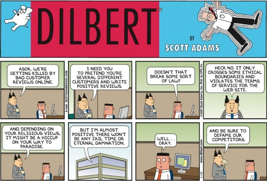 Fake review - Dilbert | From the blog of Nicholas C. Rossis, author of science fiction, the Pearseus epic fantasy series and children's books