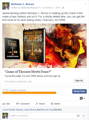 FB ads - subscribers | From the blog of Nicholas C. Rossis, author of science fiction, the Pearseus epic fantasy series and children's books