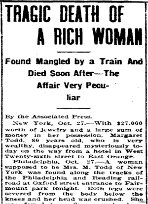 Press clipping with Mrs. Todd's death | From the blog of Nicholas C. Rossis, author of science fiction, the Pearseus epic fantasy series and children's books