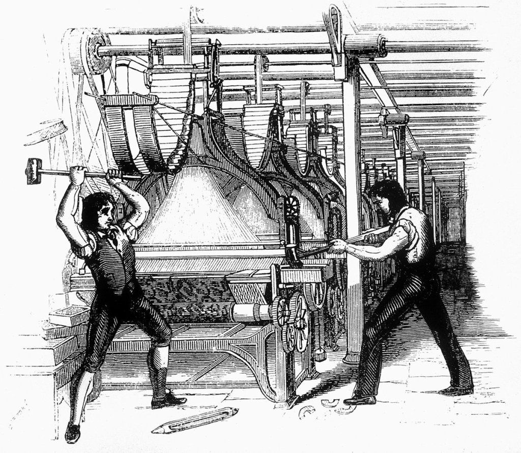Luddites breaking a loom | From the blog of Nicholas C. Rossis, author of science fiction, the Pearseus epic fantasy series and children's books