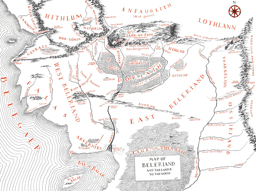 map of Beleriand | From the blog of Nicholas C. Rossis, author of science fiction, the Pearseus epic fantasy series and children's book