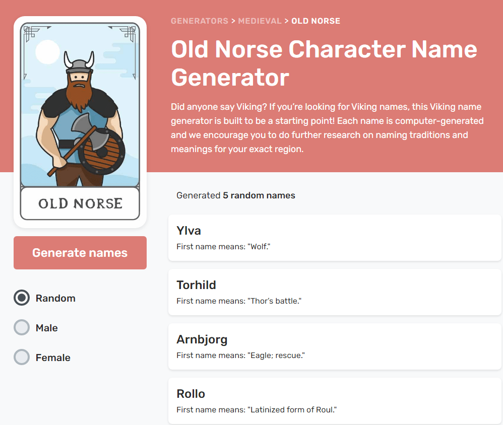 Reedsy's Medieval name generator   From the blog of Nicholas C. Rossis, author of science fiction, the Pearseus epic fantasy series and children's books