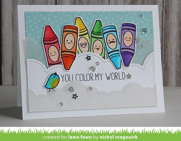 Lawn Fawn You Color My World Card Nichol Spohr LLC