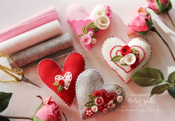 Simon Says Stamp  Felt Plush Heart Valentines Decor