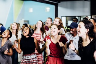 Here we are being silly while singing a kids song in preparation for our mission trip together. It was a great way to bond with Youth Alive. PC: Reed Seely