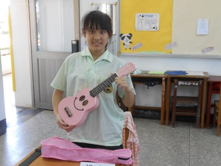One of the girls with her ukulele.
