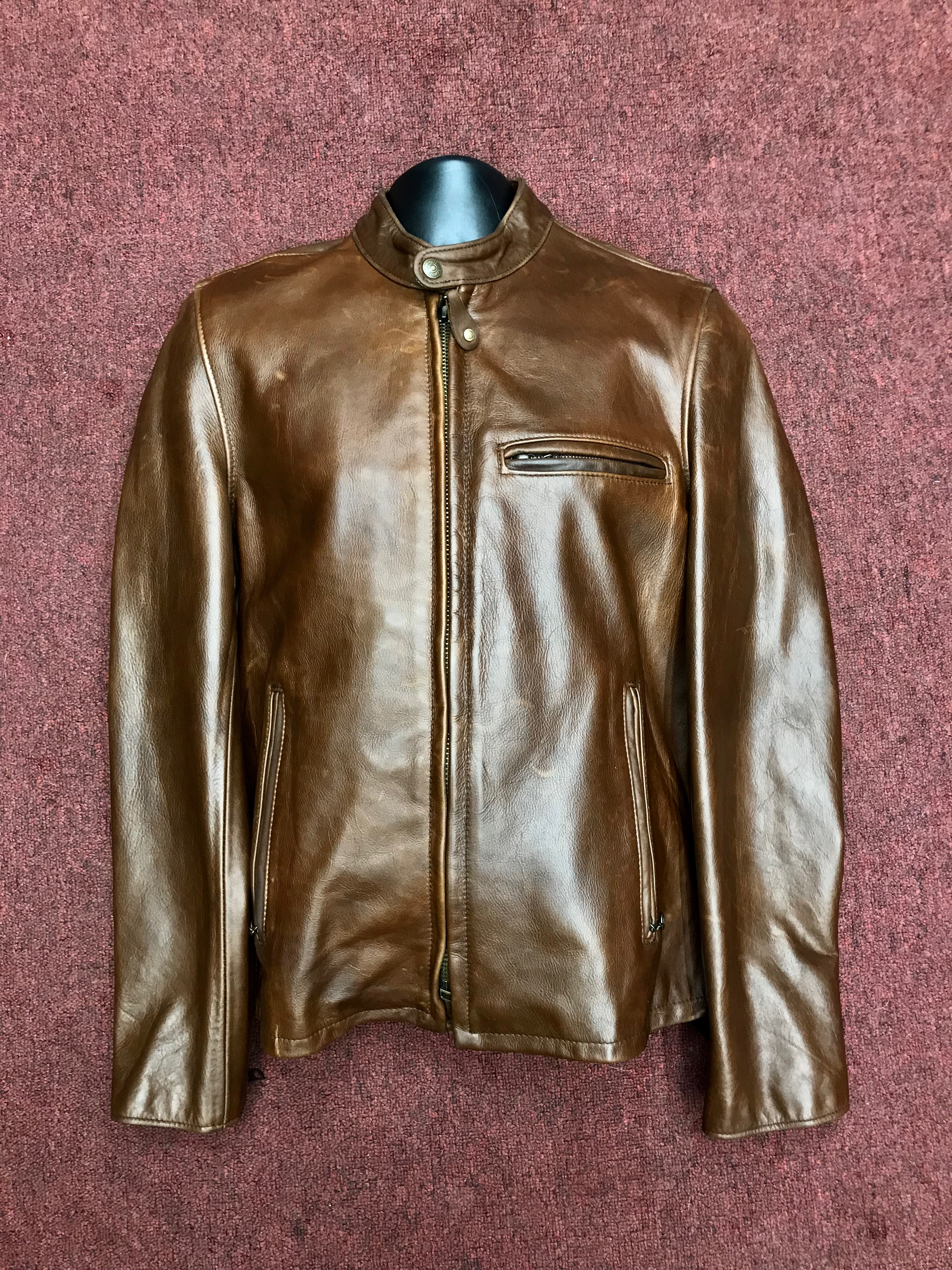 521a52fc6 Schott Waxed Natural Pebbled Cowhide Café Leather Jacket