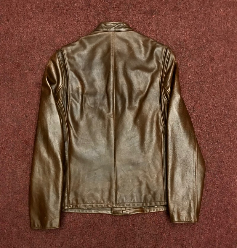 b5409bf6150 Schott Waxed Natural Pebbled Cowhide Café Leather Jacket Nick Son