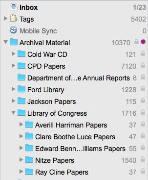 I recreate the archive's filing system in my Devonthink database.