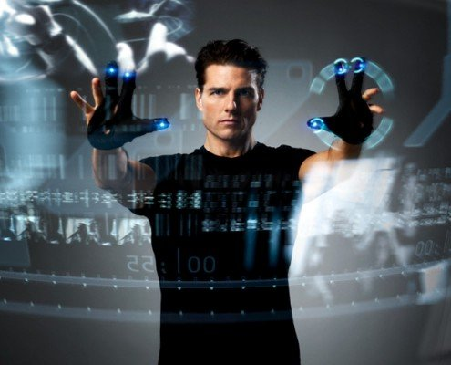 Tom Cruise demonstrates the paperless dream in Minority Report.