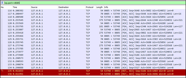 Wireshark packet capture from demo JNBridge application.