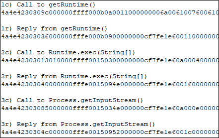 Captured packets in Notepad++.