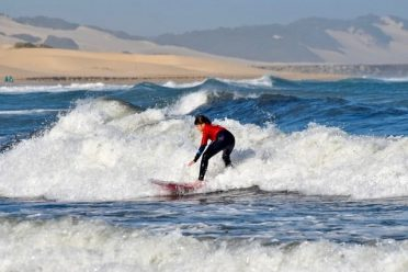 Surfing on the Port Alfred beach