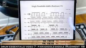 Drum Essentials Video 7 - Paradiddle-Diddle (Rudiment 19) NickCostaMusic.com nick costa music nick costa drums nick costa teacher drum lesson drum fundamentals drum rudiments