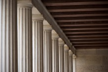 Ceiling corner in Stoa of Atallos colonnade