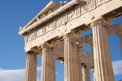Colonnade and pediment of Parthenon showing sculptures