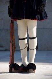 Greek guardsman with rifle from waist down