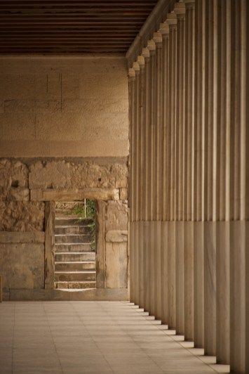 Stone steps beside Stoa of Attalos colonnade
