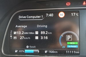 Nissan Leaf dashboard with odometer displaying 11111 km.