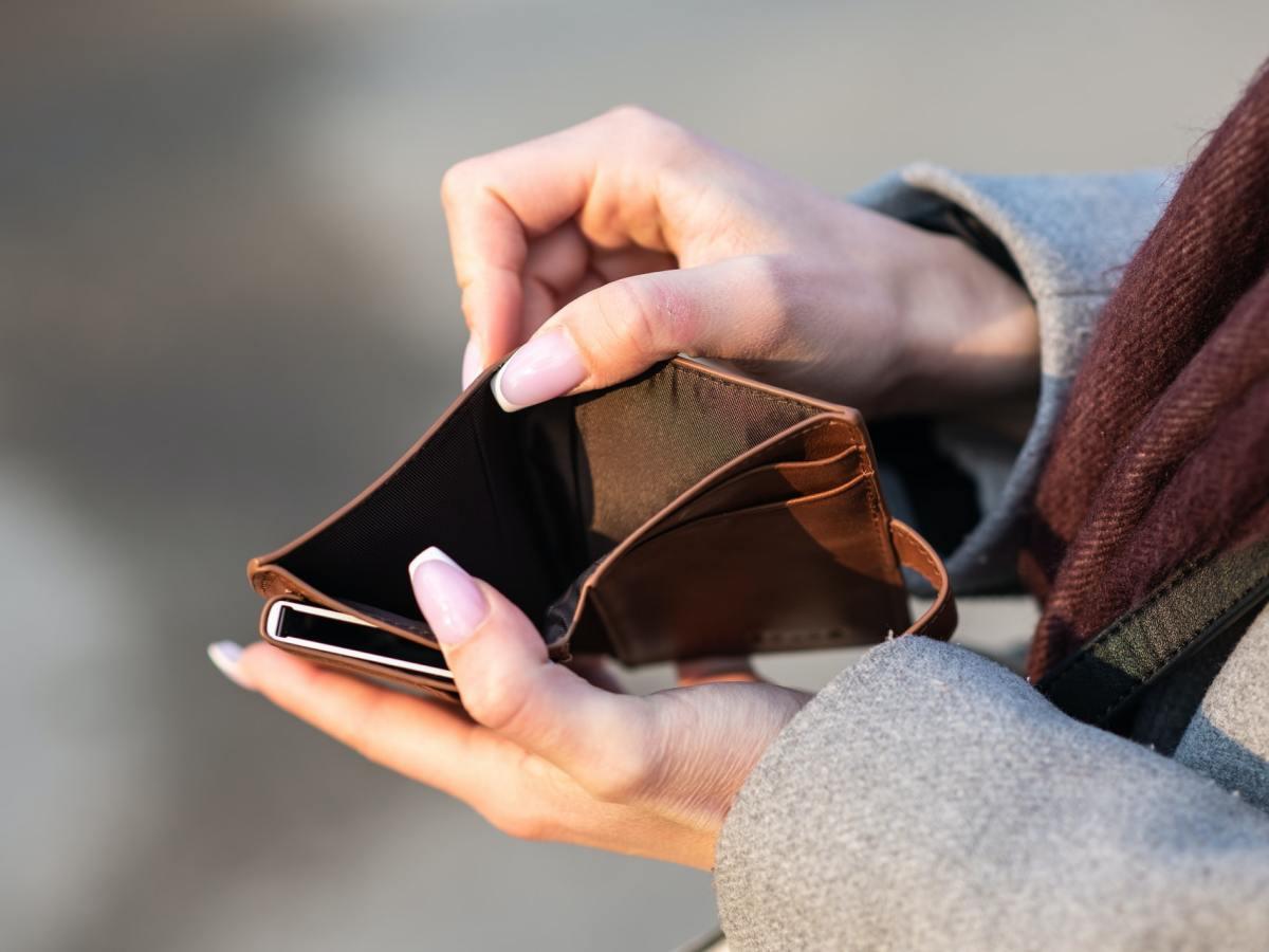 Empty wallet suggesting a person is broke