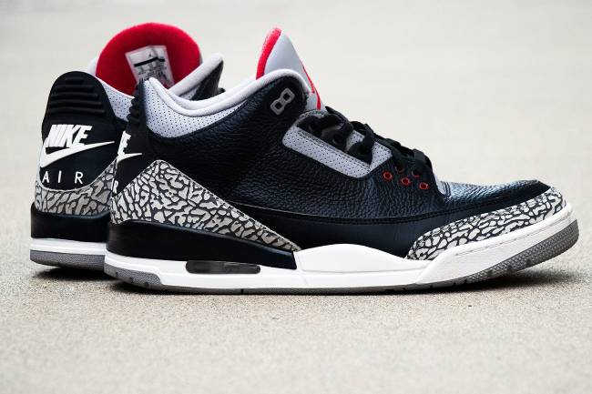 Air Jordan 3 Black Cement with Nike Air branding, 2018.