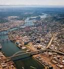 Downtown Portland aerial photo Willamette and bridges