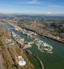 Oregon City aerial photo with falls
