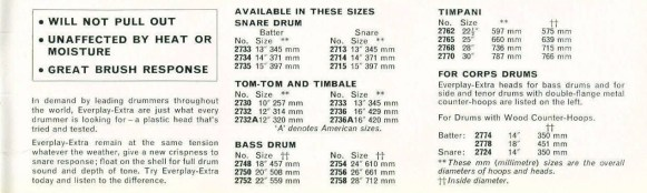 Everplay drum head sizes 1966