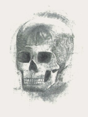 a charcoal drawing of a skull