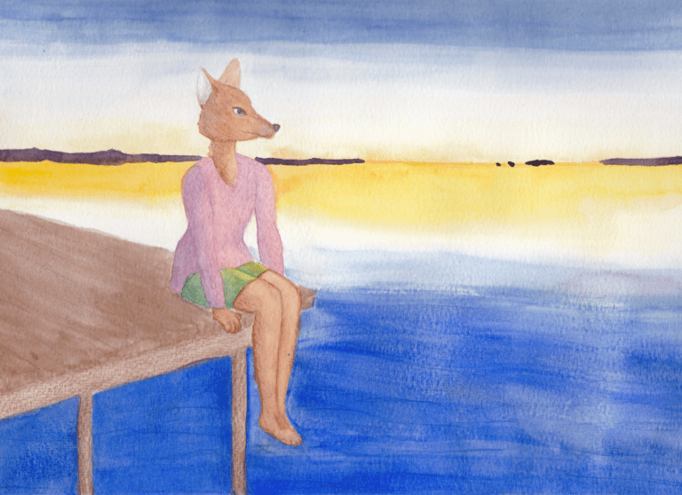 watercolor painting of an anthropomorphic coyote sitting on the edge of a dock