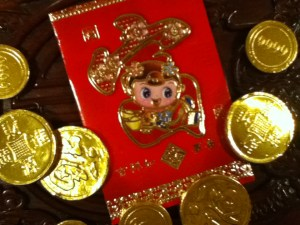 red envelope and chocolate money