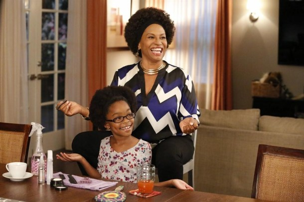 """BLACK-ISH - """"Oedipal Triangle""""- Dre's mother, Ruby, comes for a visit, and she smothers her pork chops with gravy, Dre with love, and would like to flat out smother Bow, who feels the same way about her.   Dre tries to find a way to get the two most important women in his life to get along, on """"black-ish,"""" WEDNESDAY, NOVEMBER 19 (9:31-10:00 p.m., ET) on the ABC Television Network. (ABC/Kelsey McNeal) MARSAI MARTIN, JENIFER LEWIS"""