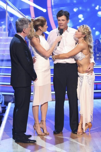 "DANCING WITH THE STARS - ""Episode 1908"" - At the end of the night, the next couple eliminated was Michael Waltrip and Emma Slater, on ""Dancing with the Stars,"" MONDAY, NOVEMBER 3 (8:00-10:01 p.m., ET), on ABC. (ABC/Adam Taylor) TOM BERGERON, ERIN ANDREWS, MICHAEL WALTRIP, EMMA SLATER"