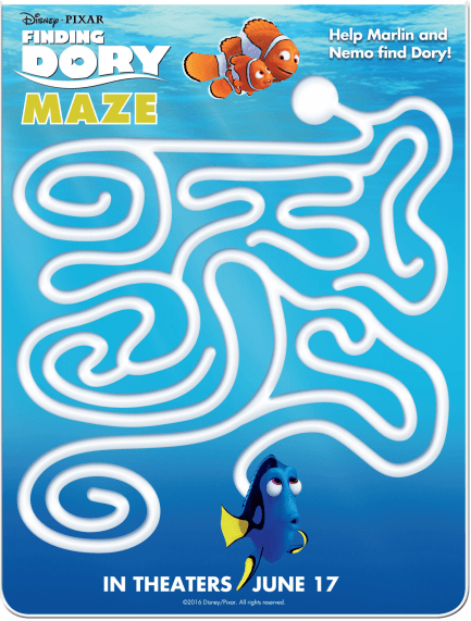 Finding Dory Maze Sheet - Free Finding Dory Activity Sheets via nickisrandommusings.com