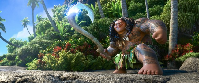"MAUI is a demigod—half god, half mortal, all awesome. Charismatic and funny, he wields a magical fishhook that allows him to shapeshift into all kinds of animals and pull up islands from the sea. Featuring Dwayne Johnson as the voice of Maui, Walt Disney Animation Studios' ""Moana"" sails into U.S. theaters on Nov. 23, 2016. ©2016 Disney. All Rights Reserved."