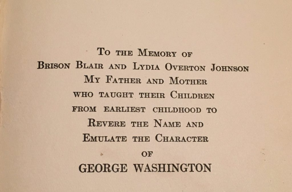 dedication page in George Washington the Christian