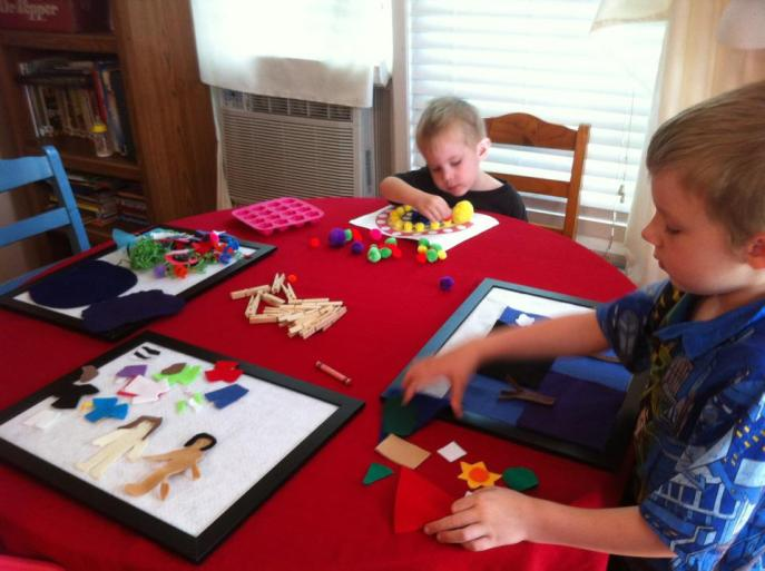 homeschooling boys with busy bags