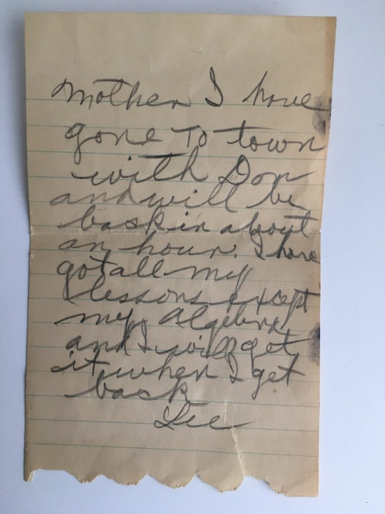 Vintage note to mom - approx 1920's
