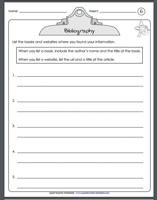 Insect Reports on Super Teacher Worksheets