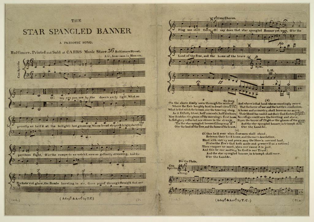 Star Spangled Banner cursive copywork