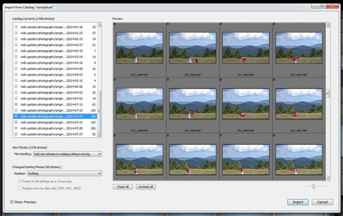 importing new pictures in lightroom